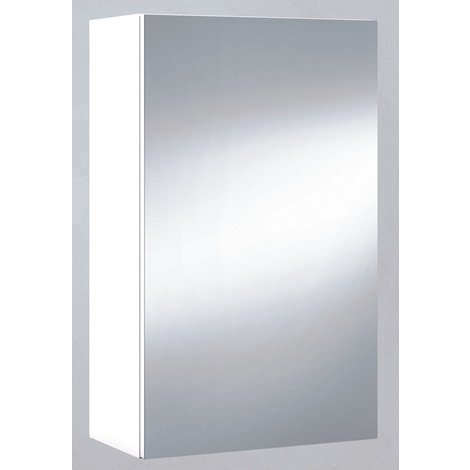 Miroir de salle de bain avec rangements 1 porte en blanc brillant, 65 x 40 x 21 cm