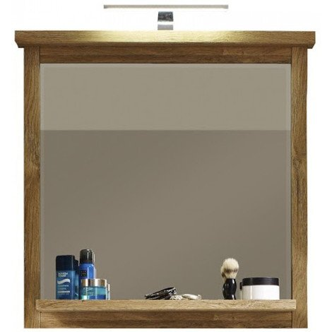 miroir de salle de bain contemporain avec 1 tablette 75 cm coloris ch ne. Black Bedroom Furniture Sets. Home Design Ideas