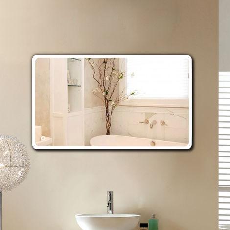 "main image of ""Miroir de salle de bain d'angle arrondi (120*70 cm, blanc froid)"""