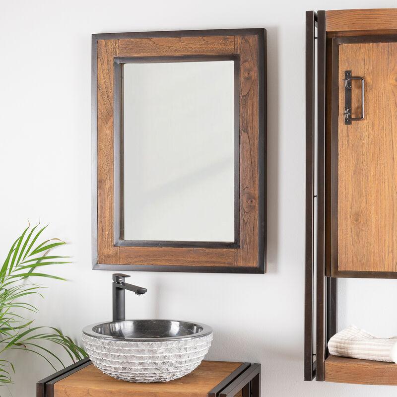 Miroir de salle de bain élégance bois métal 60x80