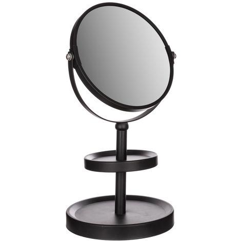 Miroir de salle de bain grossissant à poser - H. 34 cm - Noir - Noir