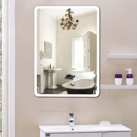 Miroir de salle de bain LED angle arrondi 80*60CM*4mm design moderne