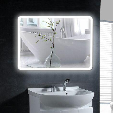 "main image of ""Miroir de salle de bain LED angle arrondi 80*60CM*4mm design moderne"""