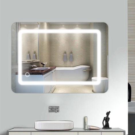 Miroir de salle de bain LED en aluminium Touch control 70*50cm