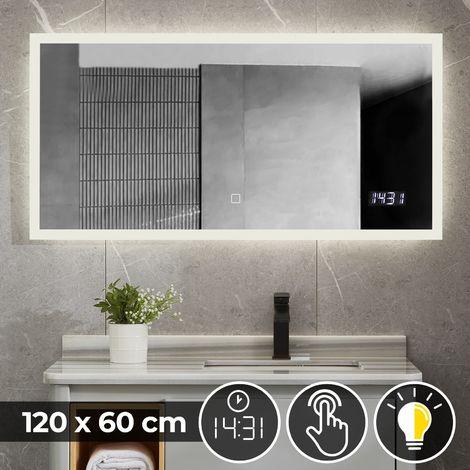 Miroir de Salle de Bain LED Lumineux Tactile Mural CEE: A++ Horloge Miroir Lumineux Éclairage Blanc Froid ou Chaud