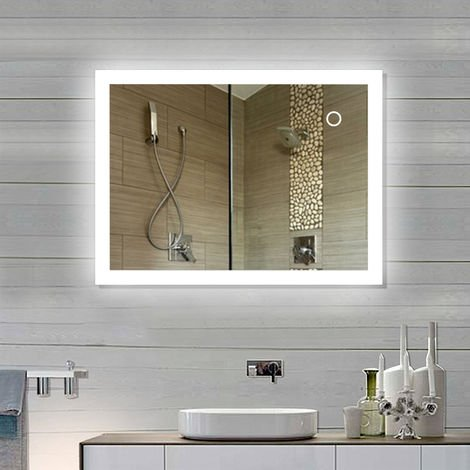 Miroir de salle de bain Miroir LED avec éclairage à travers des surfaces lumineuses givrées Miroir de salle de bain (80*60 cm, blanc froid)