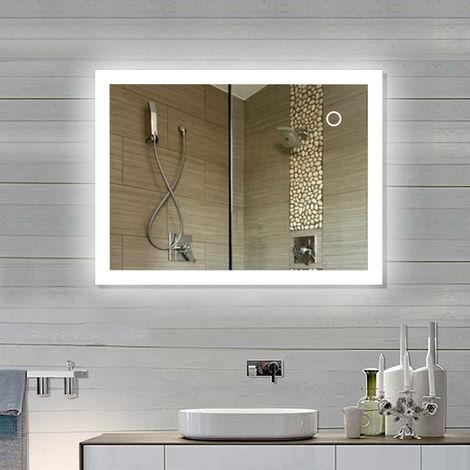 Miroir de salle de bain Miroir LED avec éclairage à travers des surfaces lumineuses givrées Miroir de salle de bain (90*70 cm, blanc froid)