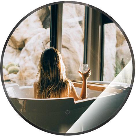 Miroir de salle de bain rond anti-buée blanc chaud 70*70*4.5cm