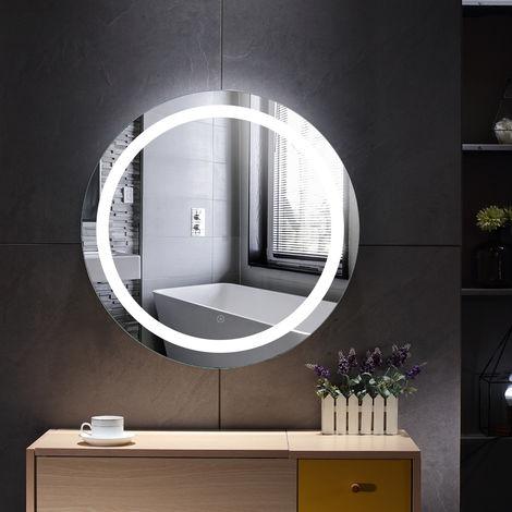 Miroir de salle de bain rond anti-buée blanc froid 60 * 60 * 4.5cm