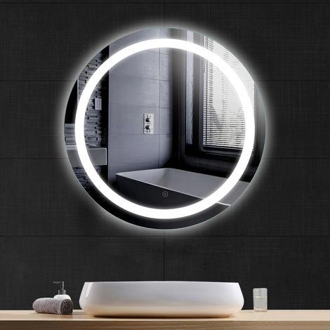 Miroir de salle de bain rond anti-buée blanc froid 70*70*4.5cm