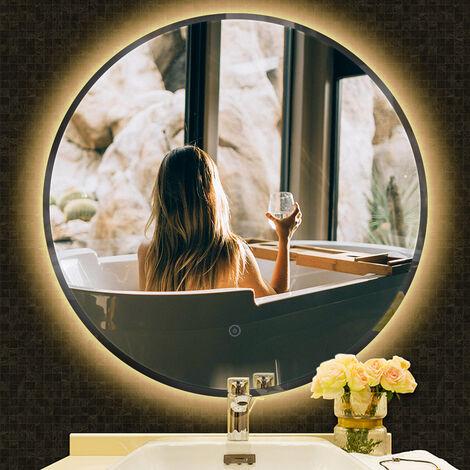 Miroir de salle de bain rond biseauté blanc chaud anti-buée 70*70*4.5cm - Blanc chaud