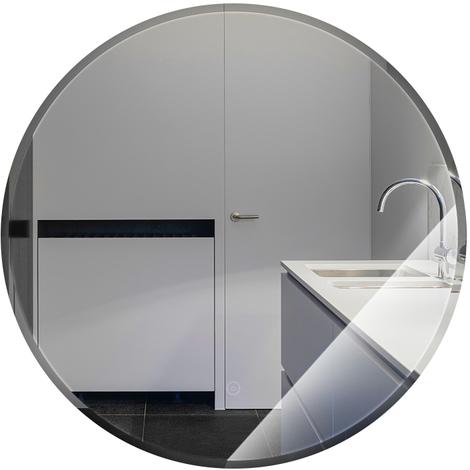 Miroir de salle de bain rond biseauté blanc chaud anti-buée 80 * 80 * 4.5cm