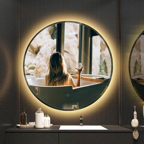 Miroir de salle de bain rond biseauté blanc chaud anti-buée 80 * 80 * 4.5cm - Blanc