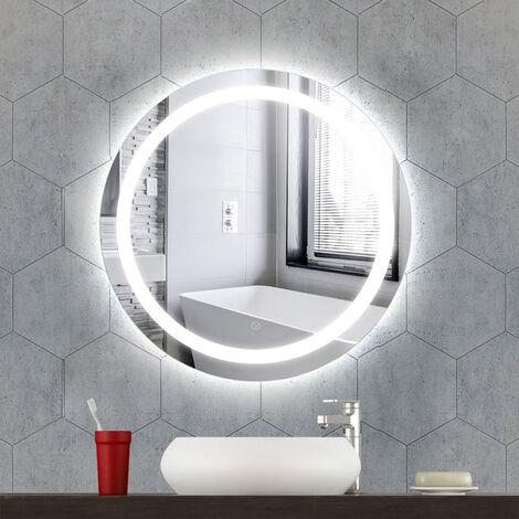 Miroir de Salle de Bain Rond Bord Biseauté Blanc Froid Anti-buée