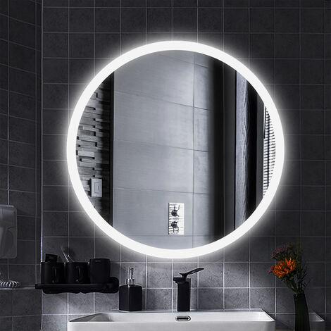 Miroir de salle de bain rond, Ceinture givrée, blanc froid, anti-buée 60*60*4.5cm 35mm