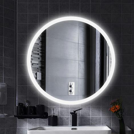 MIROIR DE SALLE DE BAIN ROND LED MODERNE Anti-buée blanc froid 70*70*4.5cm 35mm