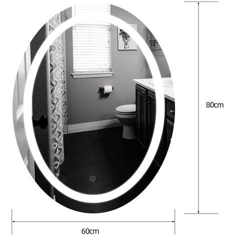 Miroir de salle de bains à LED lumineux forme ovale 60 x 80cm