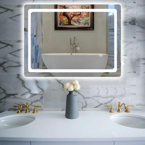 Miroir de Salle de Bains avec éclairage 60x80cm LED Miroir Cosmétiques Mural Lumière Illumination avec Commande par Effleurement, Anti-buée