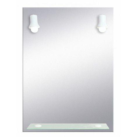 Miroir de salle de bains avec éclairage FLUO-COMPACTE - 2 Spots Blancs - 79  cm x 58,5 cm (HxL)