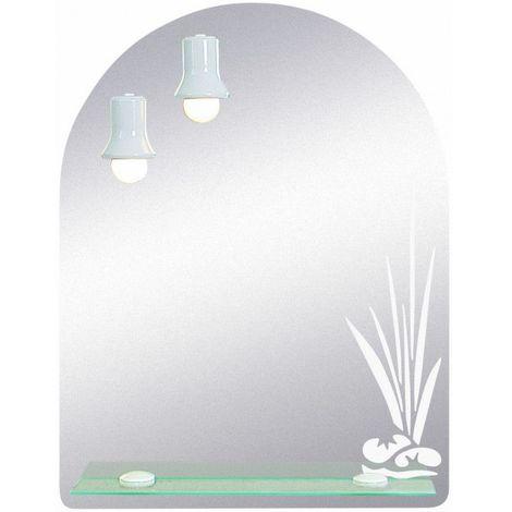 Miroir de salle de bains avec éclairage FLUO-COMPACTE - Flower - 65 cm x 50 cm (HxL)