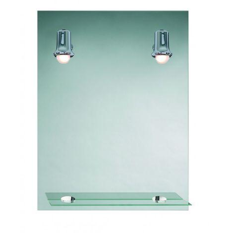 Miroir de salle de bains avec éclairage FLUO-COMPACTE - Modèle 2 Jolies  Spots - 79 cm x 58,5 cm (HxL)