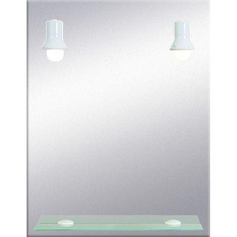 Miroir de salle de bains avec éclairage FLUO-COMPACTE - Modèle Spots Blancs  - 65 cm x 50 cm (HxL)