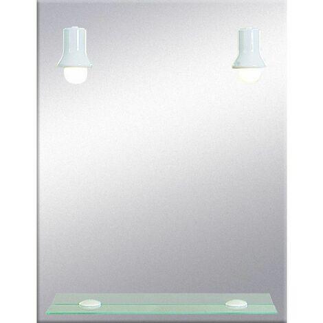 Miroir de salle de bains avec éclairage FLUO-COMPACTE - Modèle Spots ...