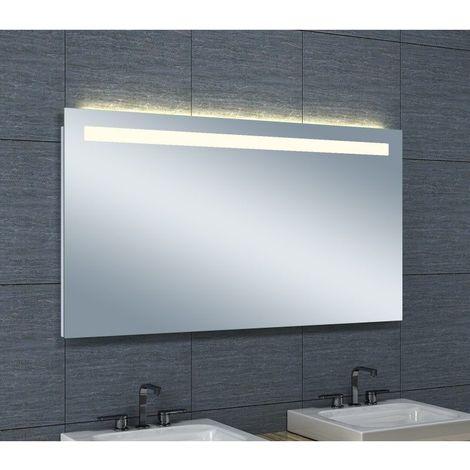 Miroir de salle de bains avec clairage led horizontale - Glace de salle de bain avec eclairage ...