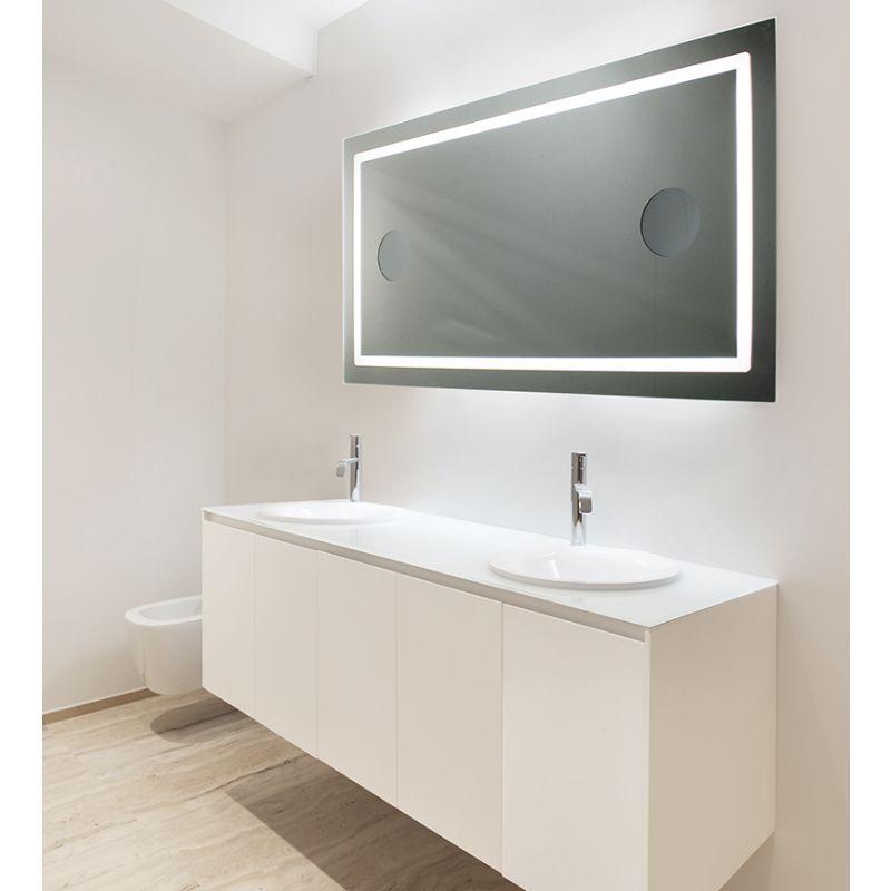 Miroir de salle de bains avec éclairage LED - Modèle 120 - 65 cm x 120 cm  (HxL)
