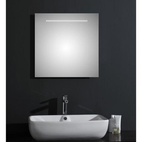 Miroir de salle de bains avec éclairage LED - Modèle Brillant - 60 cm x 60 cm (HxL)