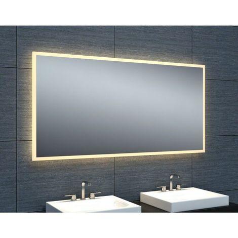 Miroir de salle de bains avec éclairage LED - Modèle épuré 120 - 60 cm x 120 cm (HxL)