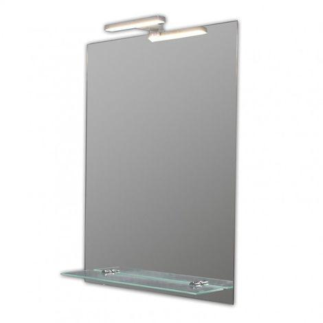 Miroir de salle de bains avec éclairage LED - Modèle Spoti 50 - 65 cm x 50 cm (HxL)
