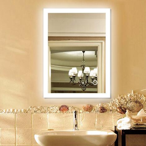 Miroir de salle de bains avec LED éclairage anti-brouillard miroir de mercure 60x80cm