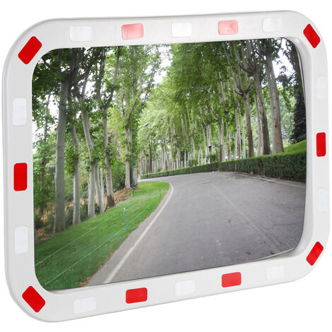 Miroir de sécurité 60x80cm incassable avec bandes réfléchissantes blanc-rouge