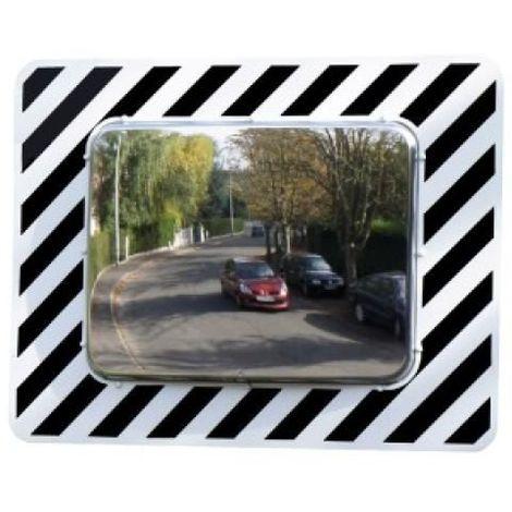 Miroir de surveillance en polycarbonate à bandes réfléchissantes pour voirie, miroir rectangulaire 60 x 80 cm