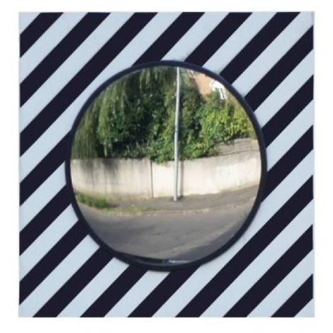Miroir de surveillance en polycarbonate à bandes réfléchissantes pour voirie, miroir rond diamètre 60 cm