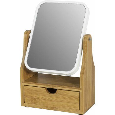 Miroir de Table Miroir de Maquillage Coiffeuse en bois Miroir pivotant pour Salle de Bain Chambre avec tiroir SoBuy® FRG245-N