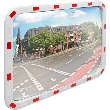 Miroir de trafic convexe 60x80cm rectangulaire avec réflecteurs support inclus