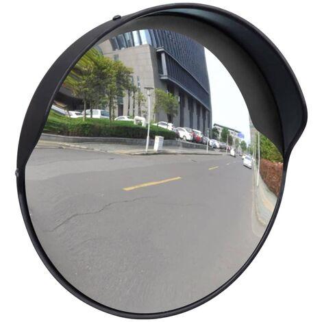 Miroir de trafic convexe d\'extérieur Plastique PC Noir 30 cm
