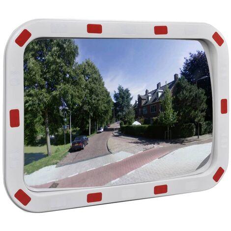 Miroir de trafic convexe rectangulaire 40x60cm avec réflecteurs