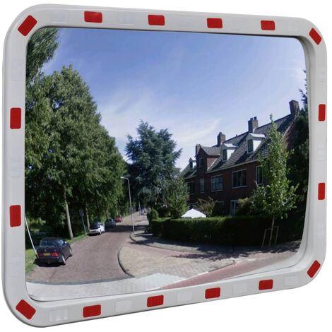 Miroir de trafic convexe rectangulaire 60x80cm avec réflecteurs