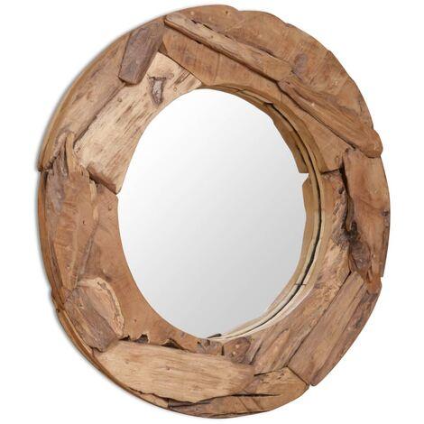 Miroir décoratif Teck 80 cm Rond