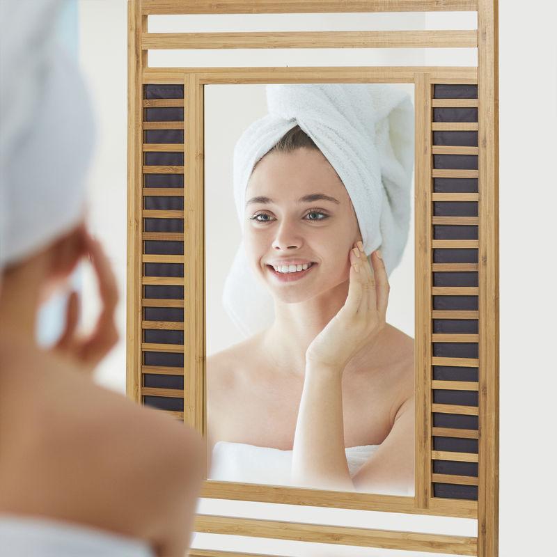 Remarquable Miroir en bambou glace de salle de bain fixation murale en bois RS-85