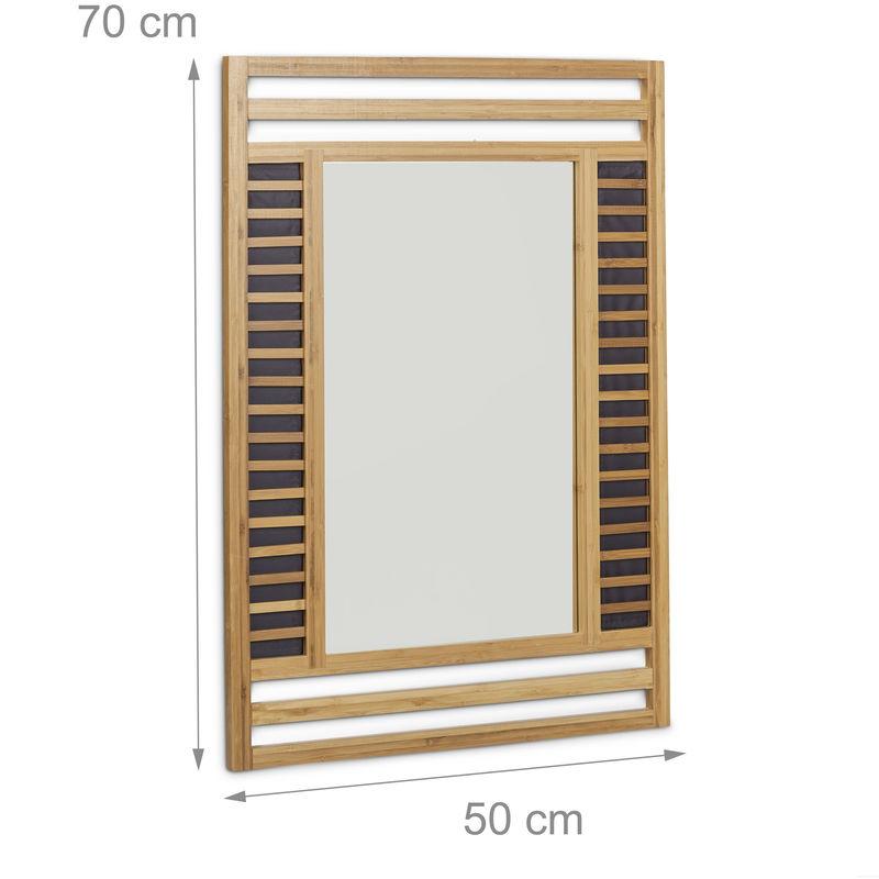Miroir en bambou glace de salle de bain fixation murale en bois ...