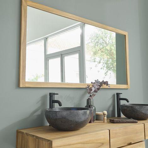 Miroir en bois de teck 160 - Naturel