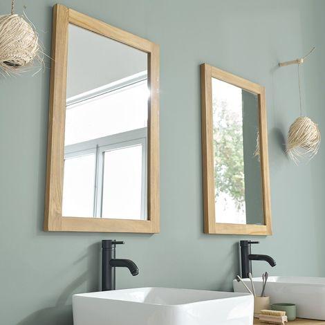 Miroir en bois de teck 80
