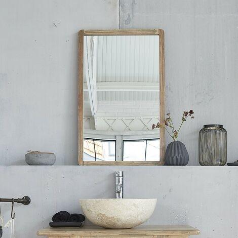 Miroir en bois d'hévéa 50 - Gris