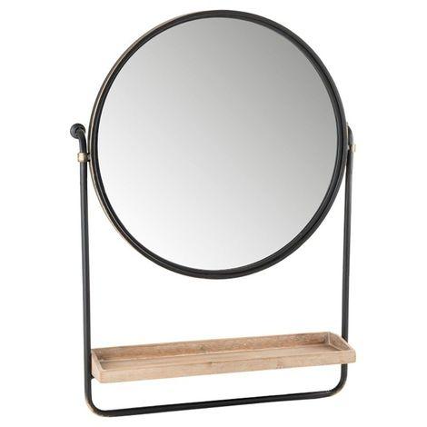 Miroir en rond en métal avec étagère en bois