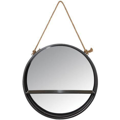 Miroir étagère rond à suspendre