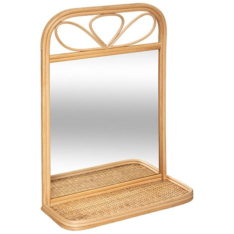 Miroir étagère rotin - Beige